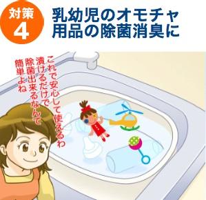 対策4:乳幼児用品やオモチャの除菌消臭に